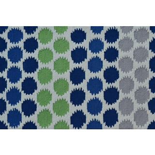 Hand-hooked Ikat Dot Blue Polyester Area Rug (2'8 x 4'8)