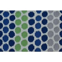 Hand-hooked Ikat Dot Blue Polyester Area Rug - 2'8 x 4'4