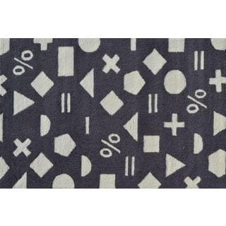 Hand-hooked Math Dot Grey Polyester Area Rug (2'8 x 4'8)
