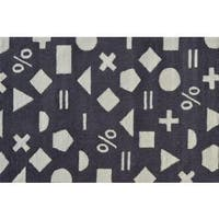 Hand-hooked Math Dot Grey Polyester Area Rug - 2'8 x 4'8