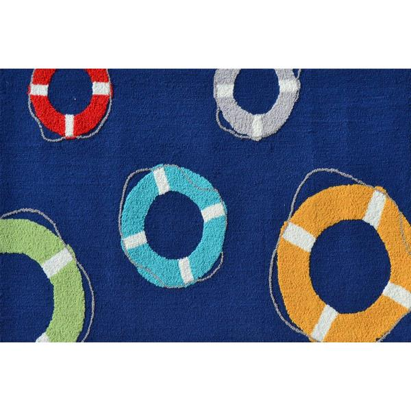 Hand-hooked Life Saver Blue Polyester Area Rug (2'8 x 4'8)