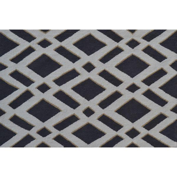 Hand-hooked Diamonds Grey Polyester Area Rug - 2'8 x 4'4