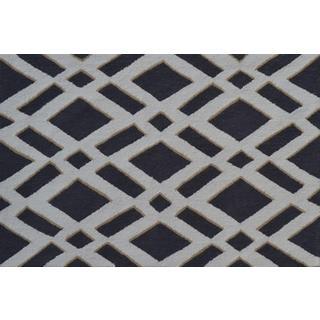 Hand-hooked Diamonds Grey Polyester Area Rug (2'8 x 4'8)