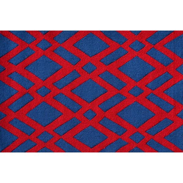 Hand-hooked Diamonds Red Polyester Area Rug (2'8 x 4'8) - 2'8 x 4'4