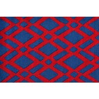 Hand-hooked Diamonds Red Polyester Area Rug - 2'8 x 4'4