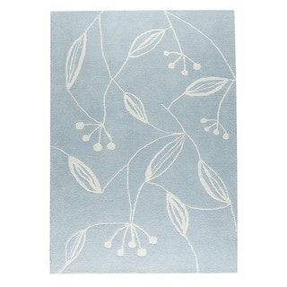 M.A.Trading Indian Hand-tufted Flora Blue Rug (4'6 x 6'6)