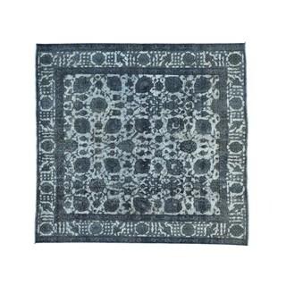 Persian Tabriz Barjasta Silver Overdyed Squarish Rug (8'3 x 8'9)