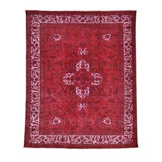Persian Tabriz Barjasta Red Overdyed Oriental Rug (8'7 x 10'8)