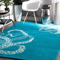 nuLOOM Handmade Octopus Tail Faux Silk/ Wool Blue Rug - 4' x 6'