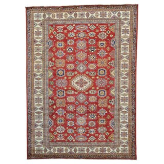 Handmade Red Super Kazak Geometric Design Oriental Rug (9' x 12'4)
