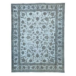 Silver Overdyed Persian Tabriz Barjasta Oriental Rug (9'4 x 12'1)