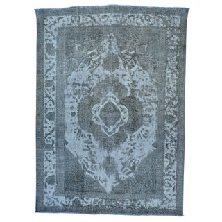 Silver Overdyed Persian Tabriz Barjasta Hand-knotted Rug (8' x 10'10)