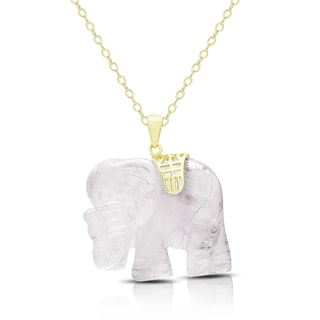 Dolce Giavonna Gold Over Silver Carved Rose Quartz Elephant Necklace