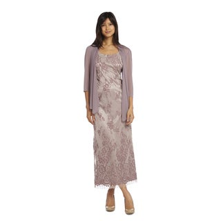 R&M Richards Women's Floral Lace Jacket Dress