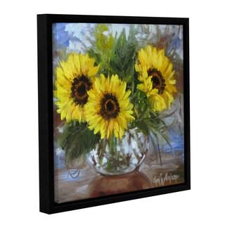 Cheri Wollenberg's 'Sunflowers V' Gallery Wrapped Floater-framed Canvas