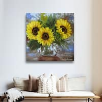 Cheri Wollenberg's 'Sunflowers V' Gallery Wrapped Canvas