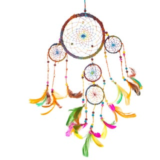 Handmade Rainbow Dances Hemp Dream Catcher (Nepal)