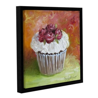 Cheri Wollenberg's 'Cupcake With Frosting Of Roses' Gallery Wrapped Floater-framed Canvas