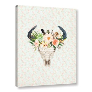 Tara moss's 'Bull Skull On Floral' Gallery Wrapped Canvas