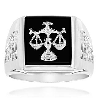Luxurman 14k Gold Men's Black Onyx Libra Scale Ring