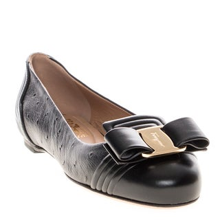 Salvatore Ferragamo Lulu Embossed Leather Bow Flats