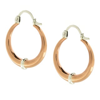 Handcrafted Solid Copper Hoop with Sterling Silver Band Earrings (Mexico)