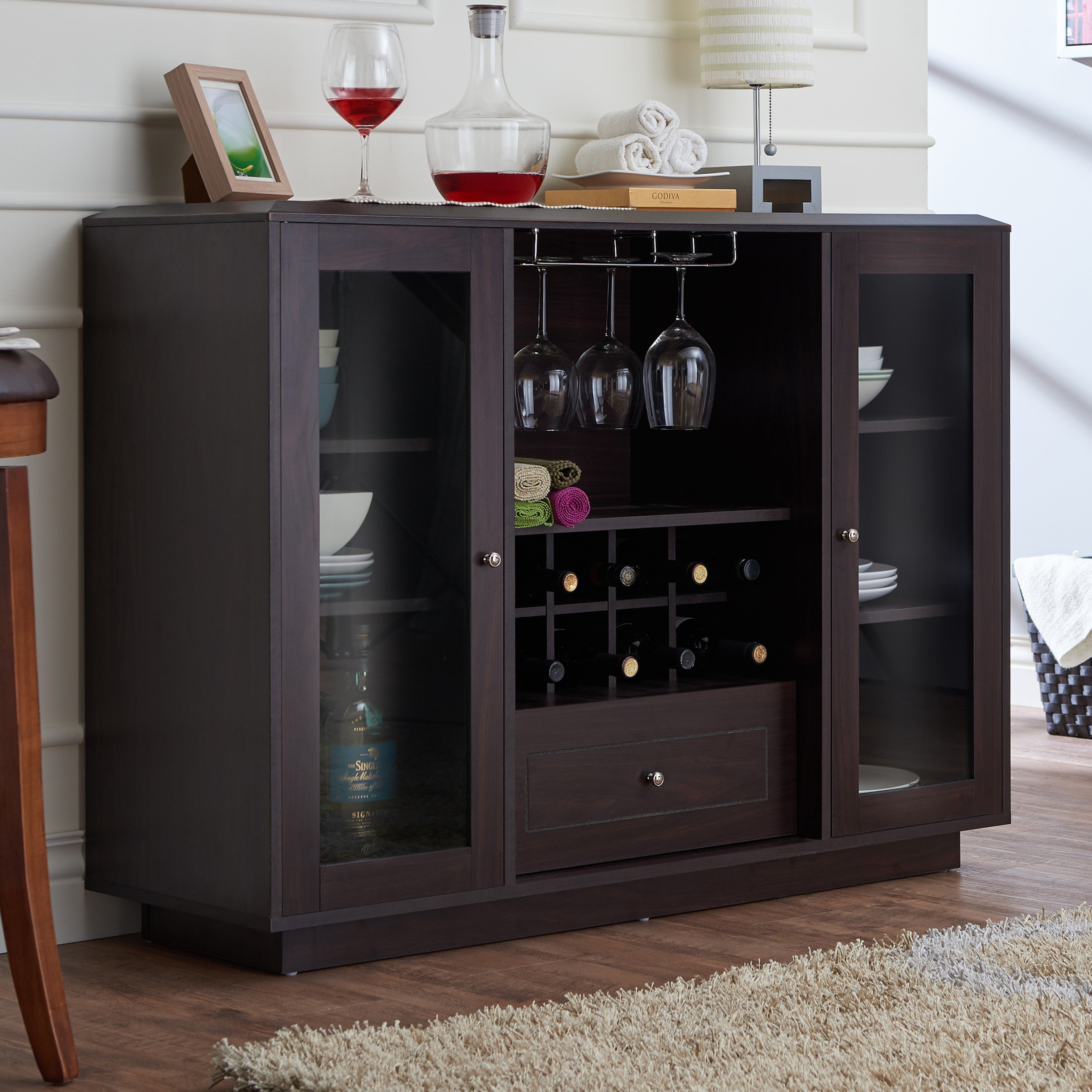 Shop Furniture Of America Karthen Espresso Multi Storage
