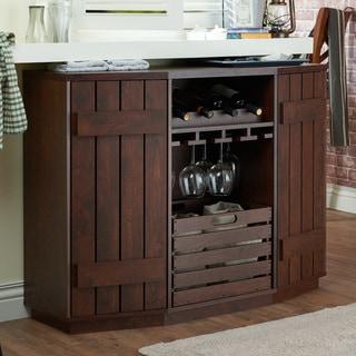 Furniture of America Lath Rustic Walnut Solid Wood Shelf Server