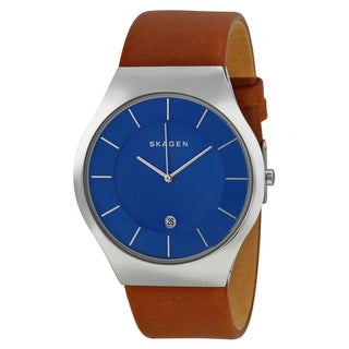 Skagen Grenen Men's SKW6160 Blue Dial Watch with Brown Leather Strap