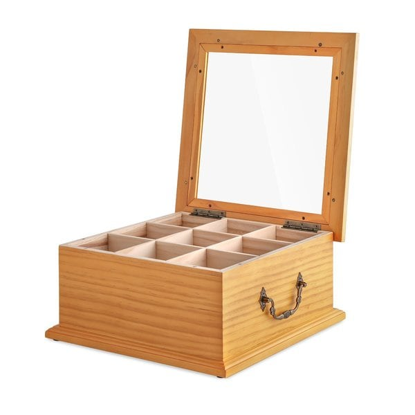 shop wooden gourmet 180 tea bag 9 compartment organizer storage box free shipping today. Black Bedroom Furniture Sets. Home Design Ideas