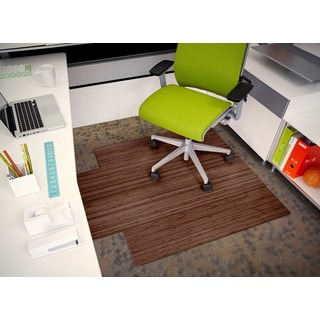 Jani Eco Bamboo Roll-up Rectangular Walnut Chair Mat with Lip