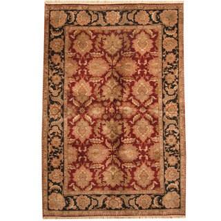Herat Oriental Indo Hand-knotted Khorasan Burgundy/ Black Wool Rug (6' x 9')