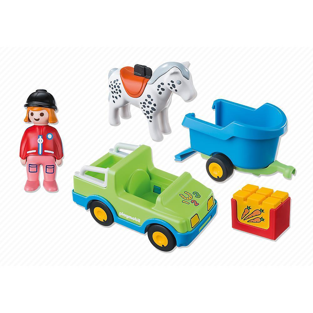 Playmobil 1.2.3. Car with Horse Trailer (Toy)