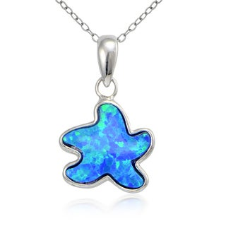 Glitzy Rocks Sterling Silver Created Opal Starfish Necklace