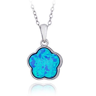 Glitzy Rocks Sterling Silver Created Opal Flower Necklace