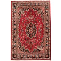 Herat Oriental Persian Hand-knotted 1960s Semi-antique Mashad Wool Rug (6'8 x 10') - 6'8 x 10'