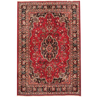 Herat Oriental Persian Hand-knotted 1960s Semi-antique Mashad Wool Rug (6'8 x 10')
