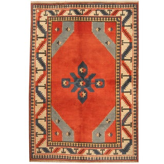 Herat Oriental Turkish Hand-knotted Anatolia Red/ Ivory Wool Rug (6'8 x 9'9)