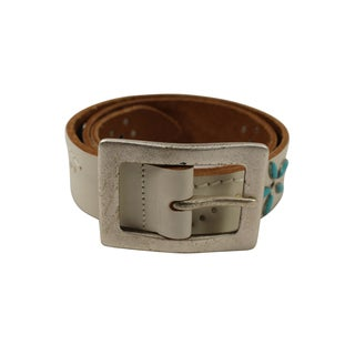 Orciani White Leather Women's 33-inch Belt