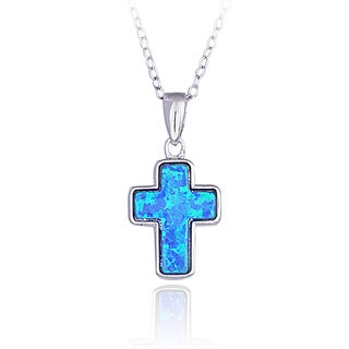 Glitzy Rocks Sterling Silver Created Opal Cross Necklace