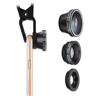 3-in-1 Clip-On 180-degree Fisheye, 0.65X Wide Angle, and 10X Macro Lens for Smartphones