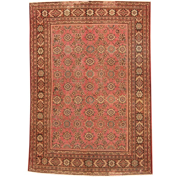 Handmade Herat Oriental Persian 1920s Antique Mahal Wool Rug - 7'2 x 10'4 (Iran)
