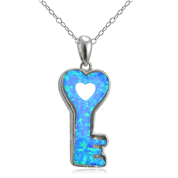 57f7c5dd419cdd Shop Glitzy Rocks Sterling Silver Created Opal Heart Key Necklace ...