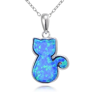 Glitzy Rocks Sterling Silver Created Opal Cat Necklace