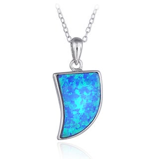 Glitzy Rocks Sterling Silver Created Opal Horn Necklace