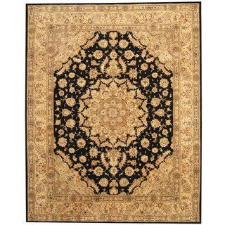 Herat Oriental Indo Hand-tufted Tabriz Black/ Gold Wool & Silk Rug (7'9 x 9'9)