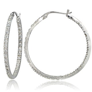 ICZ Stonez Silver Inside-Out Cubic Zirconia 2mm Round Hoop Earrings, 30mm