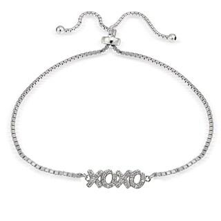 Icz Stonez Silver Cubic Zirconia XOXO Adjustable Slider Bracelet