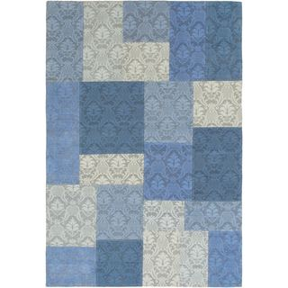 Ecarpetgallery Flatweave Collage Blue and Grey Dhurrie Rug (4' x 5'10)