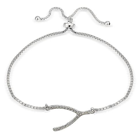 Icz Stonez Silver Cubic Zirconia Wish Bone Adjustable Slider Bracelet